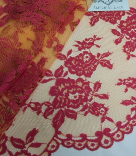 Orange and Fuchsia Color Lace Fabric
