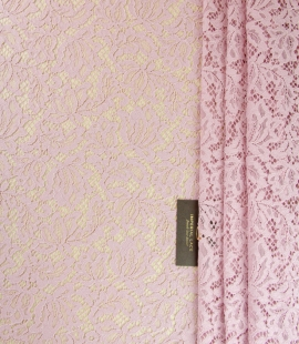 Light pink floral pattern guipure lace fabric