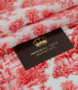 Red with orange shade printed silk crepe fabric