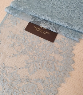 Light blue grey floral pattern chantilly lace trimming