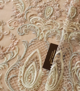 Pale multicolor beaded 3D lace fabric