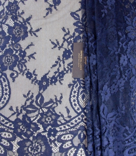 Dark blue floral pattern chantilly lace fabric