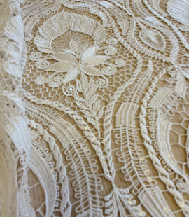 Offwhite lace fabric with fliters
