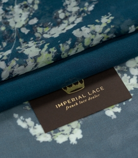 Dark teal color with floral pattern crepe chiffon fabric
