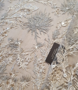 Beige with silver beaded lace fabric