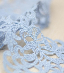 Light blue light macrame floral pattern lace trimming