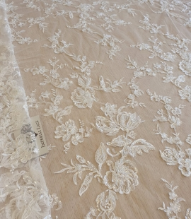 Ivory beaded floral lace fabric