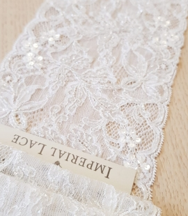 Offwhite beaded elastic chantilly lace trimming