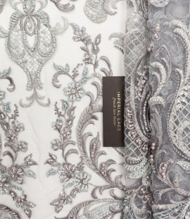 Grey beaded embroider...