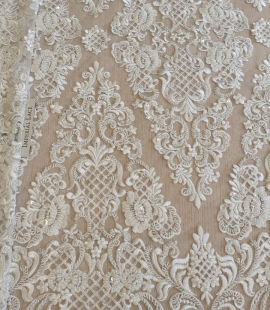 Luxury bridal beaded lace fabric