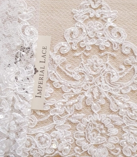 White Alencon lace fabric