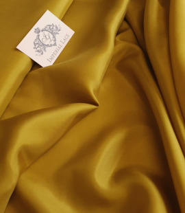 Mustard green silk lining fabric