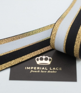 Black with gold and white elastic ribbon