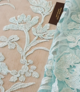 Blue 100% polyester floral pattern sequin embroidery lace fabric