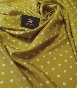 Olive green white dotted silk lining fabric