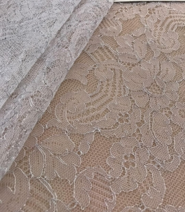 White with silver thread lace fabric