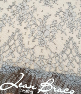 Grey natural chantilly lace fabric by Jean Bracq