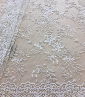 Offwhite beaded lace fabric