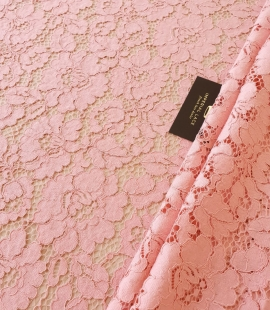 Pink floral guipure lace fabric