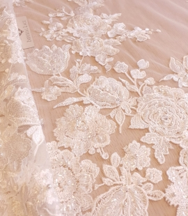 Ivory floral beaded lace fabric