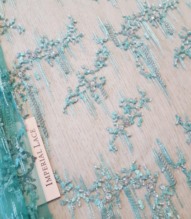 Sea greenish blue beaded lace