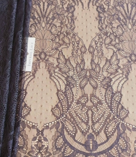Navy blue lace fabric, French lace fabric