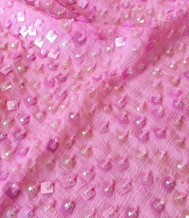 Pink chiffon with sequins silk fabric