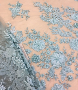 Light greenish blue floral lace fabric