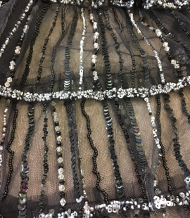 Black ruffle tulle with beads