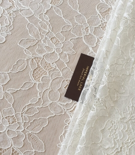 Ivory chantilly lace with thick thread lace fabric