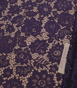 Lilac guipure lace fabric