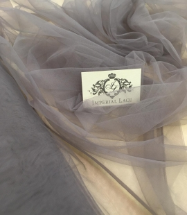 Soft grey tulle fabric with lilac shade