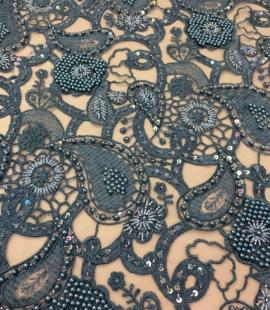Turquoise macrame lace fabric