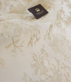 Ivory with gold thread viscose lace fabric