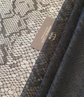 Black chantilly viscose snake pattern lace fabric
