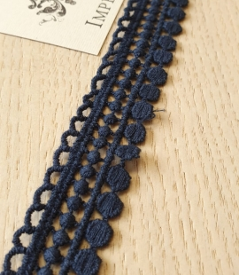 Dark blue macrame lace trimming