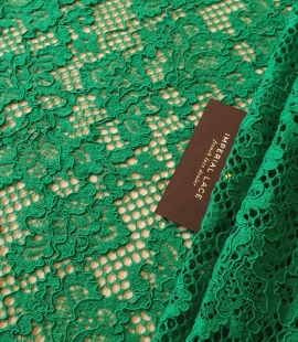 Green guipure lace fabric