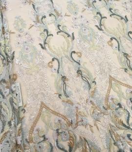 Multicolor beaded lace fabric