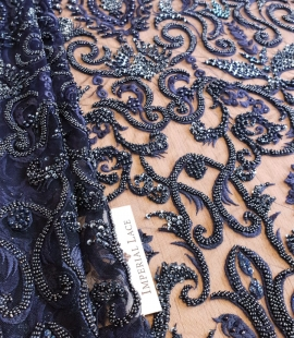 Dark blue with light blue 3d lace fabric
