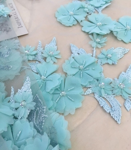 Green flowers lace fabric 3D