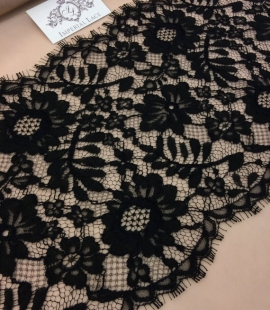 Black viscose lace trim