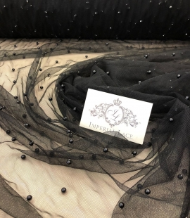 Black tulle fabric with black pearls