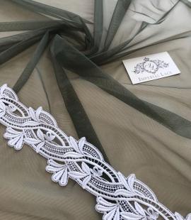 Dark khaki green tulle fabric