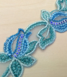 Blue with green lace trim