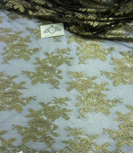 Black Lace Fabric with gold ink