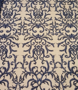 Dark blue beaded lace fabric