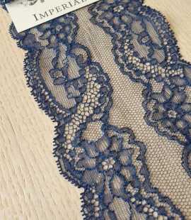 Dark blue elastic chantilly lace trimming