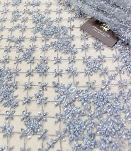 Grey beaded embroidery lace fabric