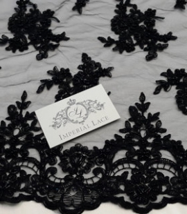 Black beaded 3D Lace fabric