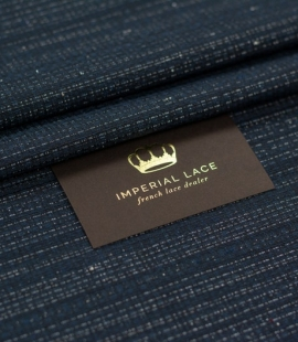 Dark blue with beige and silver thread Jacquard fabric